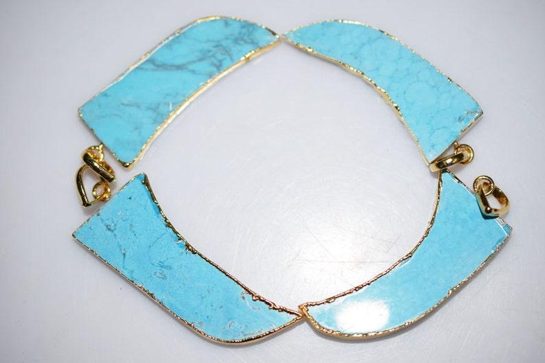 Beautiful 4 Pcs.Magnesite Turquoise Horn Electroplated Egde-Magnesite Turquoise 24k Gold Plated Pendant AH116 54-56 mm