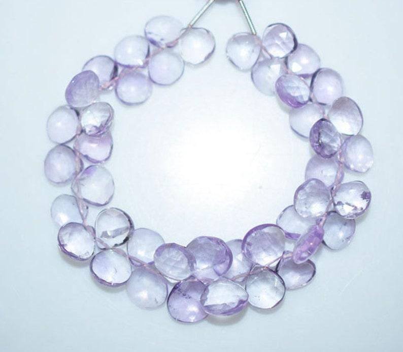 7 Pink Amethyst Briolette Pink Amethyst Heart Shape Briolette Pink Amethyst Faceted Beads 9x9-11x11 mm BL1269