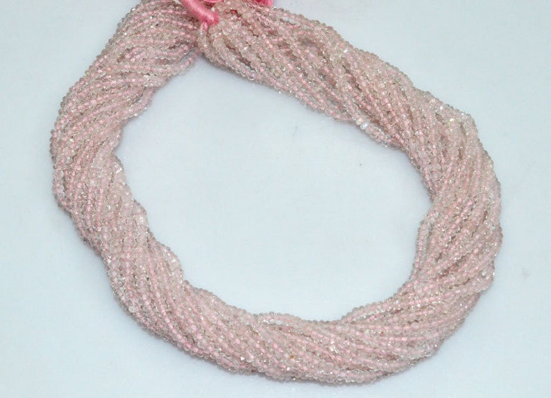 3.50 mm Pink Aquamarine Micro Faceted Rondelle MC472 Morganite Faceted Rondelle Beads 14.5 Inch Strand