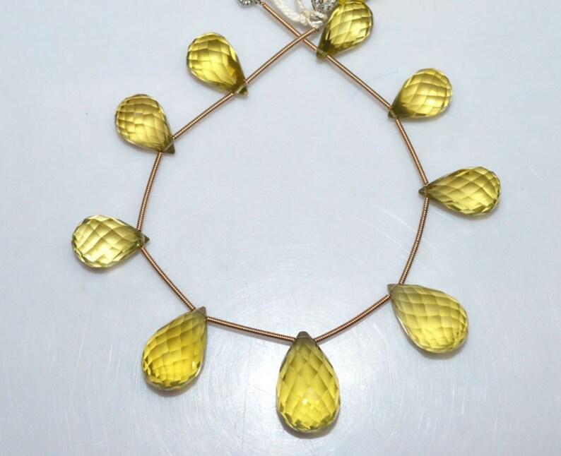7 Natural Lemon Quartz Briolette Natural Lemon Quartz Faceted Tear Drop Beads 9x15-14x22 mm BL1871 Tear Drop Briolette