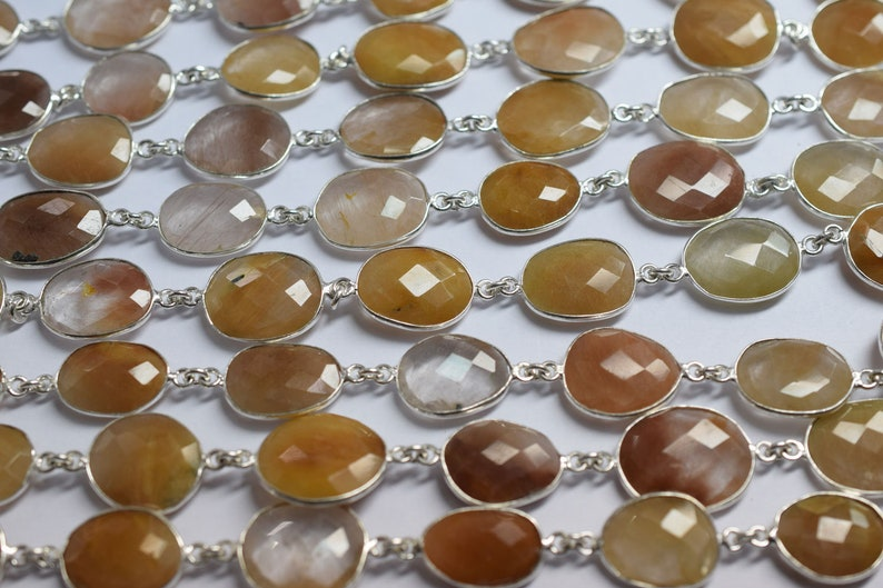 Natural Camel Rutile Free Form Connector Chain Sold By Foot Camel Rutile Faceted Bezel Connector Link Chain RB6029 14-18 mm
