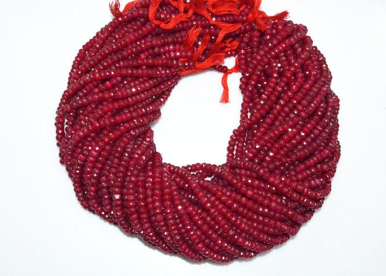 Dyed Ruby Faceted Rondelle Beads 16 MC075D Natural Dyed Ruby 5.50 mm Sold By Strand Natural Dyed Ruby Rondelle Beads