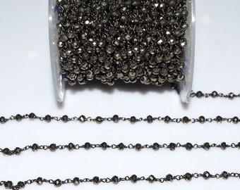 Beautiful Natural Pyrite Rosary Beaded Chain-Natural Pyrite Beaded Black Wire Wrapped Chain , 3.50-4 mm - RB5016