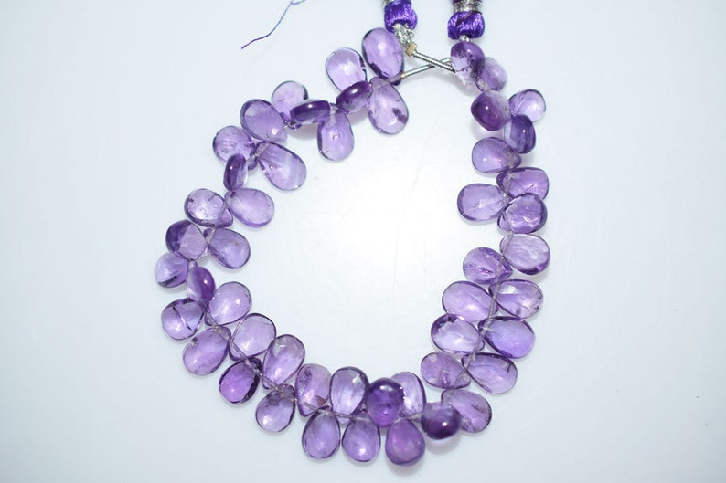 Amethyst Briolette 9x6-10x6.5 mm Amethyst Faceted Beads Amethyst Pear Shape Briolette BL1250A 6.5 Inch Strand