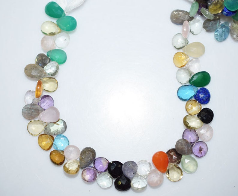 BL1242 8 Multi Semiprecious Briolette Natural Multi Semiprecious Mix Shape Faceted Beads 8.5x8.5-12.5x8 mm