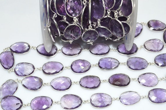 3 Feet Amethyst 3-4mm Rondelle Faceted Brazilian Gold Plated Beaded Chain