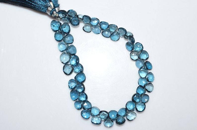London Blue Topaz Briolette 1 Strand London Blue Topaz Faceted Heart Shape Beads 8.5 BL1753 6.5x6.5-8.5x8.5 mm