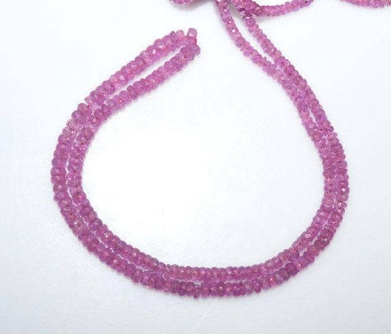 """1 chapelet rose saphir perles à facettes rondelle, perles à facettes saphirs rose, vendu par brin, 18"""", 3,25-5,50 mm - MC1051"""