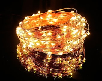 LED Copper Wire String Lights, Holiday Version (Warm White, 65.6ft, 200 Leds, Waterproof)