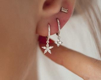 Gemstone Daisy Huggie Earrings Sterling Silver   Sterling Silver Hoop Earrings Flower Charm