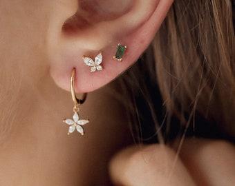 Gemstone Daisy Huggie Earrings Gold Plated Sterling Silver   Sterling Silver Hoop Earrings Flower Charm