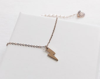 b4a7e37375855c Lightning Necklace Rose Gold | Delicate Stainless Steel Pendant Necklace |  Flash Thunder Pendant necklace for Women