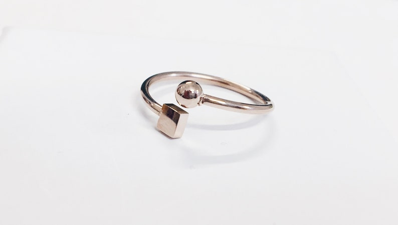 Ball and Cube Ring in Rose Gold Geometric Cube Ring Stainless Steel Jewellery