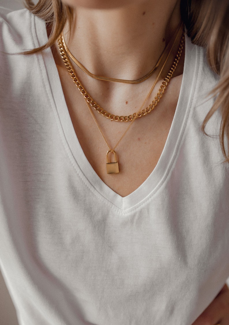 Trendy Statement Chain Stainless Steel Tarnish Resistant Chunky Curb Chain Necklace Gold Plated