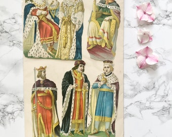 Scrapbooking - Antique decoupage dating from the Victorian era depicting silhouettes of kings and queens