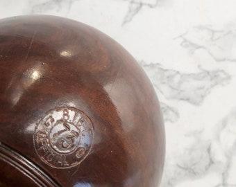 Set of 4 numbered antique mahogany and bakelite English bowling balls