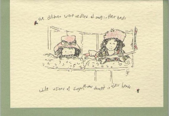 Christmas Card Drawing.Christmas Card Drawing Of The Children Were Nestled In Their Beds Blank Card Daughter Christmas Card Bed Time Traditional Grandchild