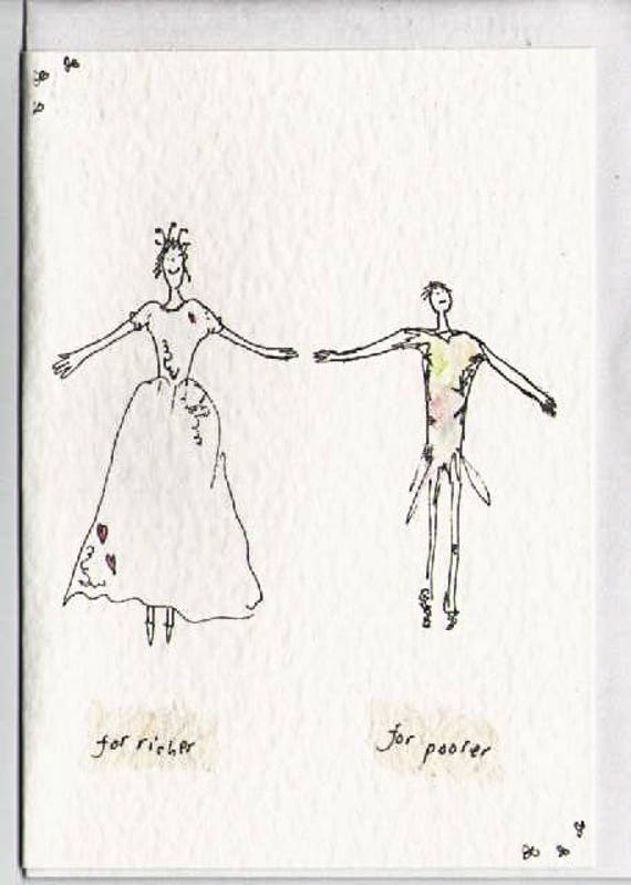 Wedding Greeting Card For Richer For Poorer Traditional Wedding Vow Rags To Riches Marriage Pen Drawing Blank Watercolour
