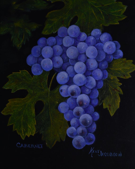 Grapes paintings of grapes Cabernet grapes kitchen decor still life  paintings wine vineyards wine making art