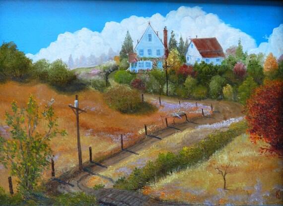 Accesorios hechos a mano miniatura Casa de Muñecas Estilo de LONA pared arte Foto tierras agrícolas