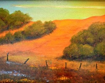 Hills, paintings of hills, hill landscapes, golden hills, An Orange Hill, warm California hills can glow almost orange in the right light