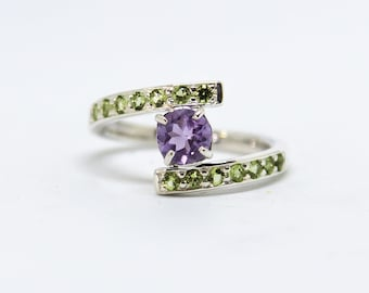 Ring Silver 925 amethyst and Peridot