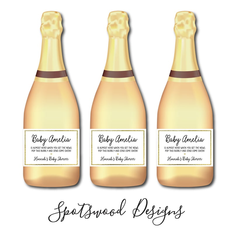 Baby Sprinkle Baby Shower Decorations Mini Baby Shower Custom Champagne Label Baby Shower Favors Pop to Send Some Cheer Bubbly Label.