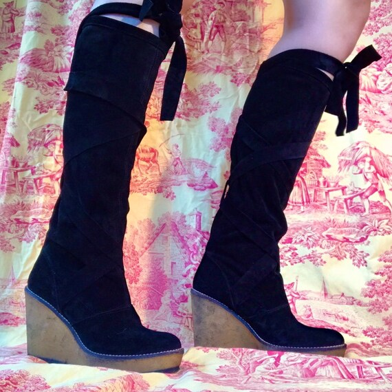 Rare Robert Clergerie Avane Wedge Leather Boot Kne