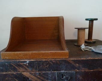 vintage large In Out tray for files & paper / dovetail / wood / wooden / filing tray / organizer / office / work / kitchen tidy