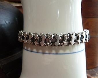 vintage sterling silver book chain bracelet  / sterling silver bracelet / vintage sterling bracelet / antique sterling chain bracelet