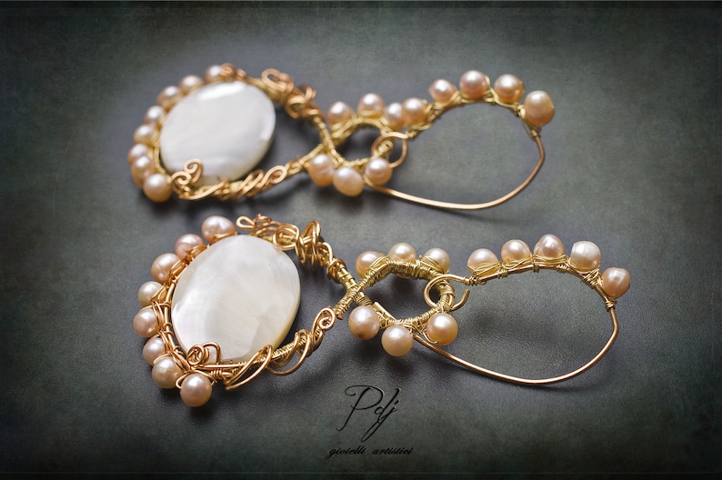 large earrings with pearl medallion Pearl ceremony earrings and mother of pearl in filled gold thread wrapped evening earrings OOAK