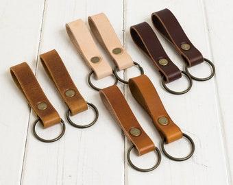 Leather Keyring, Leather Key Fob, Leather Keychain, Leather Key Holder, Set of 2 keyrings