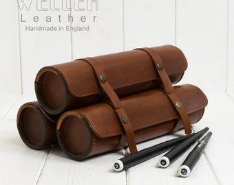 Vintage Style Leather Pencil Case - Handmade Leather Pencil Case, Artist Roll, Large Pencil Case, Pen case, Leather Pencil Roll Case