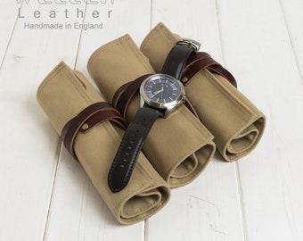 Beige Canvas Travel Watch Roll, Canvas Watch Roll, Canvas Watch Holder