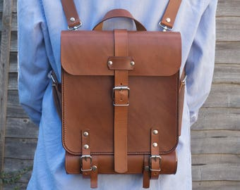 Leather Artist Backpack, Leather Writers backpack, Messenger Bag, Shoulder Bag, Leather Pencil Case, Office Backpack