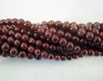 SALE! 4mm round garnet beads january birthstone