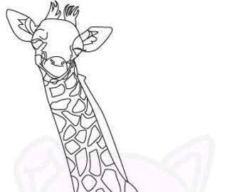 Giraffe Baby colouring page