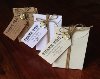 "Wedding Favour Gift Boxes x 10 Tied with Personalised ""Thank You"" Tag & Twine"