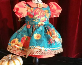Pumpkin Harvest Dress for 18 inch Doll with Gold Trim and Underslip