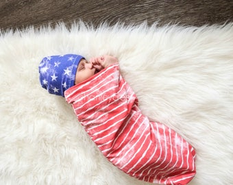 Swaddle Sack, Red White and Blue Swaddle, Fourth of July Swaddle Blanket, Fourth of July Baby Outfit, American Flag, Red White and Blue Baby