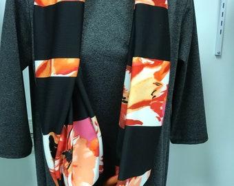 Black striped infinity scarf flower infinity scarf
