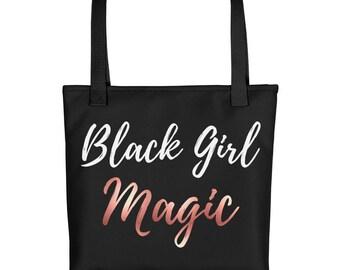 Black Girl Magic Tote bag with rose gold