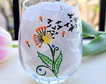 Dandelion Wine Glass, Bird Wine Glass, Wine Gifts for Women, Cute Gifts for Best Friend, Dandelion Birds, Nature Wine Glass, Whimsical Glass