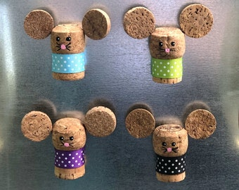 Mouse Magnet, Champagne Cork Magnet, Refrigerator Magnets, College Dorm Decor for Girls, Cute Gifts for Her, Eco Friendly Gifts, Upcycled