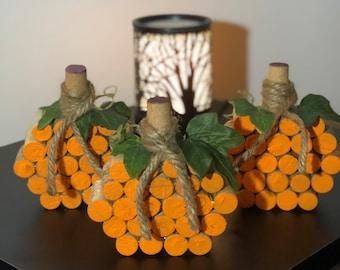Wine Cork Pumpkin, Autumn Decor, Fall Decor, Pumpkin Decor, Halloween Decor for Her, Thanksgiving Centerpiece for Table, Rustic Farmhouse