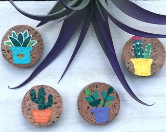 Succulent Magnets Set of 4, Plant Magnets, Refrigerator Magnets, Cork Magnet, Eco Friendly Gifts for Her, Plant Lady Gifts, Cute Gifts, Best