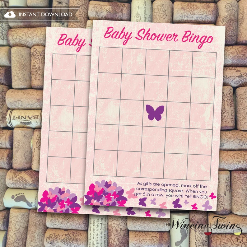 party games Home, Furniture & DIY Printable at home PDF 8.5 x11 Letter Sz Girl Butterfly Baby Shower BINGO Game