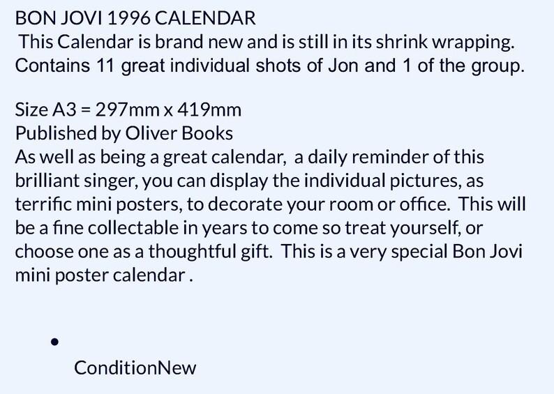 Bon Jovi 1996 Calendar Etsy