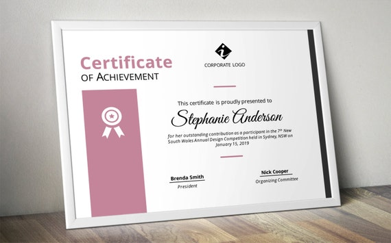 Modern Colourful Corporate Business Certificate Template For Etsy