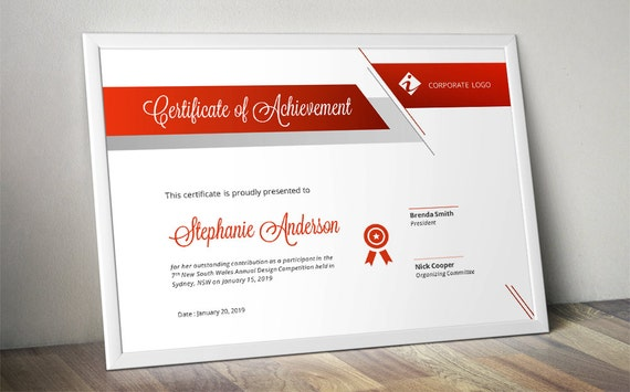 Script Bar Business Corporate Certificate Template For Ms Word Etsy
